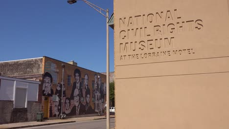 Establishing-shot-of-the-National-Civil-Rights-Museum-in-Memphis-Tennessee