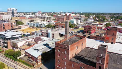 Aerial-over-mixed-use-industrial-district-of-Memphis-Tennessee-with-apartments-condos-and-converted-old-warehouses-1