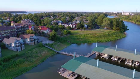 Aerial-over-generic-upscale-neighborhood-with-houses-and-duplexes-in-a-suburban-region-of-Memphis-Tennessee-Mud-Island-2