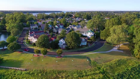 Aerial-over-generic-upscale-neighborhood-with-houses-and-duplexes-in-a-suburban-region-of-Memphis-Tennessee-Mud-Island-3