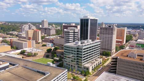 High-angle-aerial-establishing-shot-of-public-buildings-in-the-business-district-of-Jackson-Mississippi