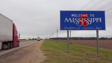 A-road-sign-welcomes-visitors-to-the-state-of-Mississippi