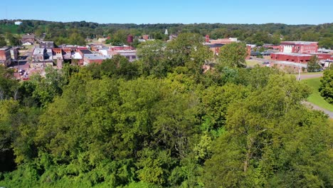 Slow-rising-aerial-over-the-town-of-West-Helena-Arkansas-small-abandoned-rundown-and-poverty-stricken