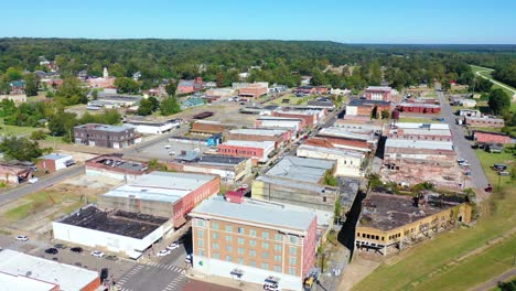 Aerial-around-the-town-of-West-Helena-Arkansas-small-poor-abandoned-rundown-and-poverty-stricken