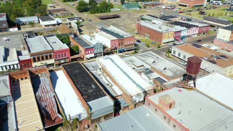 Aerial-around-the-town-of-West-Helena-Arkansas-small-poor-abandoned-rundown-and-poverty-stricken-2