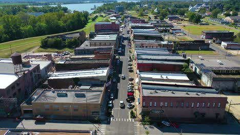 Aerial-around-the-town-of-West-Helena-Arkansas-small-poor-abandoned-rundown-and-poverty-stricken-5