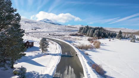 2020---aerial-of-a-cleared-woman-walking-dog-along-snow-covered-mountain-road-in-the-Eastern-Sierra-Nevada-mountains-near-Mammoth-lakes-California