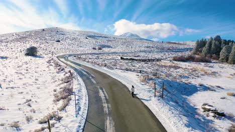 2020---Antena-De-Una-Mujer-Despejada-Paseando-A-Un-Perro-A-Lo-Largo-De-Una-Carretera-De-Montaña-Cubierta-De-Nieve-En-Las-Montañas-Del-Este-De-Sierra-Nevada-Cerca-De-Mammoth-Lakes-California-1