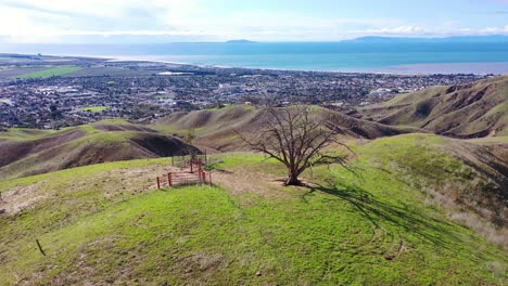 2020---aerial-over-the-pacific-coastal-green-hills-and-mountains-behind-Ventura-California-including-Two-Trees-landmark-6