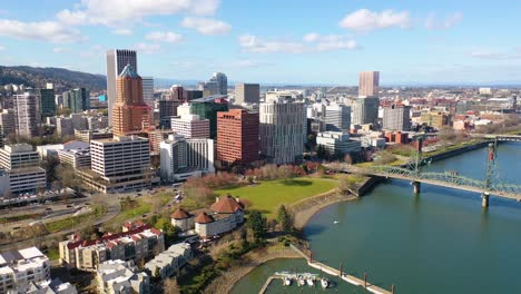 Good-aerial-over-Portland-Oregon-business-district-downtown-2