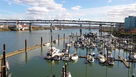 Aerial-over-small-harbor-on-Willamette-River-near-Portland-Oregon