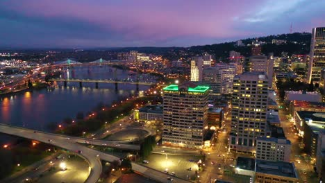 High-angle-pan-of-downtown-business-district-Portland-Oregon-at-night