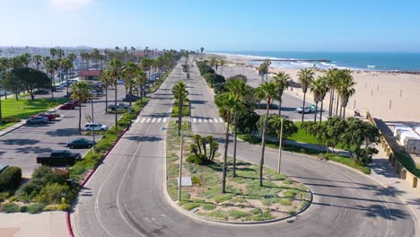 2020---aerial-of-abandoned-roads-beaches-of-Ventura-southern-california-during-covid-19-coronavirus-epidemic-as-people-stay-home-en-masse