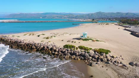 2020---aerial-of-closed-lifeguard-station-and-abandoned-beaches-of-Ventura-southern-california-during-covid-19-coronavirus-epidemic-as-people-stay-home-en-masse-6