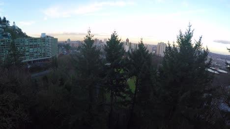 Un-Majestuoso-Tiro-Ascendente-Sobre-Pinos-Revela-El-Horizonte-De-La-Ciudad-De-Portland-Oregon