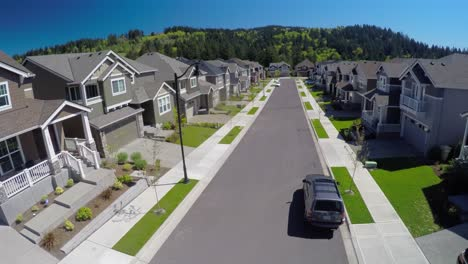 An-aerial-image-over-a-typical-american-suburban-street
