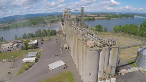 An-aerial-shot-over-a-cement-plant-or-grain-refinery