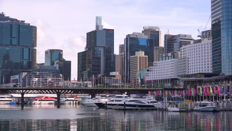 Establishing-shot-of-Sydney-Harbor-marina-and-downtown-office-towers-and-buildings