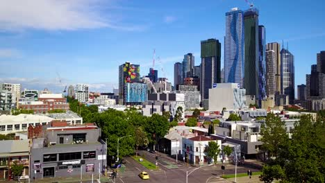 Nice-rising-aerial-establishing-shot-of-Melbourne-Victoria-Australia-central-business-district-downtown