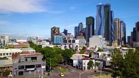 Niza-Toma-De-Establecimiento-De-Antena-Ascendente-De-Melbourne-Victoria-Australia-El-Distrito-Central-De-Negocios-Del-Centro