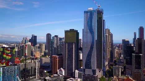 Niza-Toma-Aérea-De-Establecimiento-De-Melbourne-Victoria-Australia-El-Distrito-Central-De-Negocios-Del-Centro