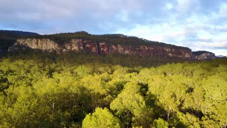 Aerial-over-Carvarvon-National-Park-with-forests-trees-mountain-ranges-Victoria-Australia