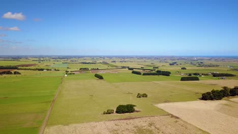 Aerial-drone-shot-of-green-fields-and-agriculture-near-Illowa-Victoria-Australia-1
