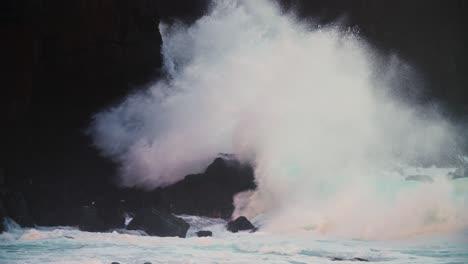 Waves-crash-against-a-rocky-shore