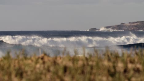 Waves-crash-against-the-shore-in-extreme-slow-motion-with-grass-and-vegetation-foreground