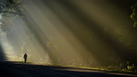 Sun-rays-shine-down-beautifully-onto-a-highway-or-road-with-a-person-walking-distant