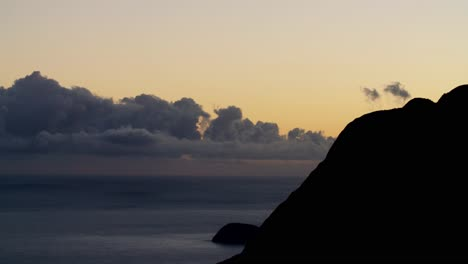 Beautiful-time-lapse-of-clouds-moving-at-dusk-over-the-island-of-Molokai-Hawaii