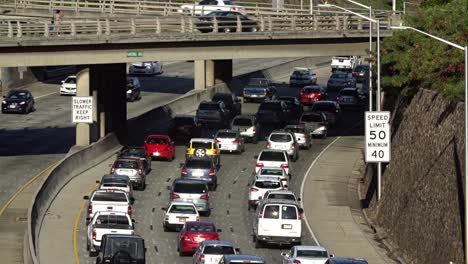 Morning-eastbound-traffic-under-overpass-on-the-H1-Freeway-in-Honolulu-Hawaii