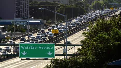 Daily-morning-westbound-traffic-from-Hawaii-Kai-lines-up-on-the-H1-Freeway-in-Honolulu-Hawaii