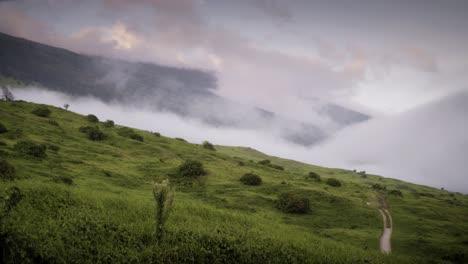 Kahikinui-Maui-scenic-in-Hawaii-with-clouds-coming-up-hill