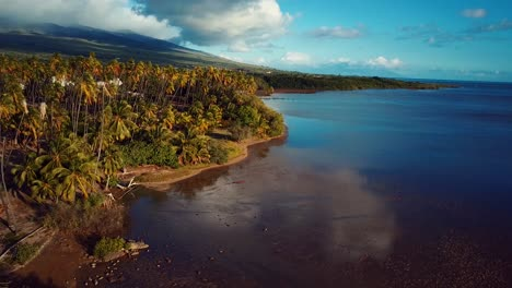 Nice-aerial-shot-over-Molokai-Hawaii-coastline