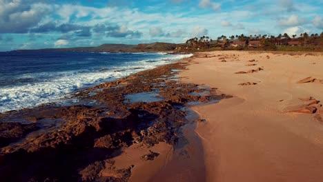 Nice-aerial-shot-over-Molokai-Hawaii-beach-and-coastline