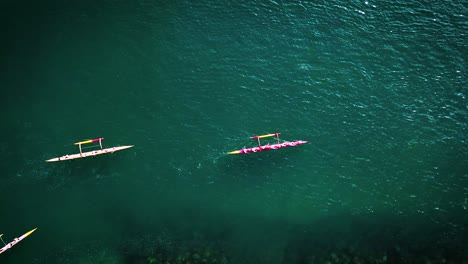 Beautiful-aerial-over-many-outrigger-canoes-at-the-start-of-a-race-in-Hawaii-3