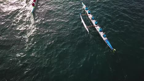 Beautiful-aerial-over-many-outrigger-canoes-at-the-start-of-a-race-in-Hawaii-5