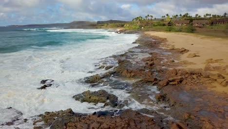 Aerial-over-Kephui-Beach-in-slow-motion-Molokai-Hawaii