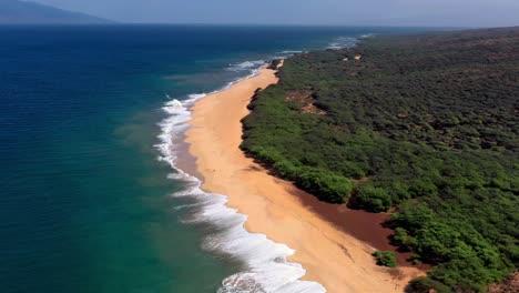 Beautiful-aerial-over-an-isolated-beach-or-coastline-in-Polihua-Lanai-Hawaii