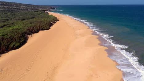 Beautiful-aerial-over-an-isolated-beach-or-coastline-in-Polihua-Lanai-Hawaii-2