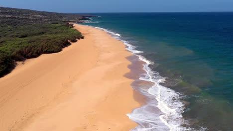 Beautiful-aerial-over-an-isolated-beach-or-coastline-in-Polihua-Lanai-Hawaii-3