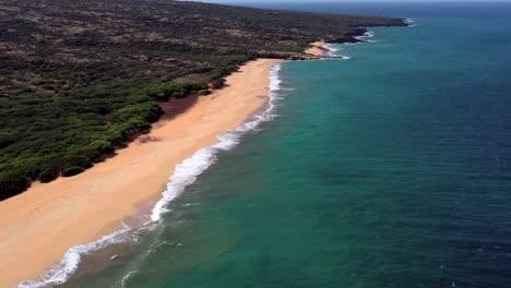 Beautiful-aerial-over-an-isolated-beach-or-coastline-in-Polihua-Lanai-Hawaii-4