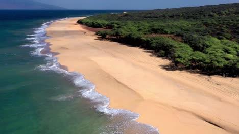 Beautiful-aerial-over-an-isolated-beach-or-coastline-in-Polihua-Lanai-Hawaii-6