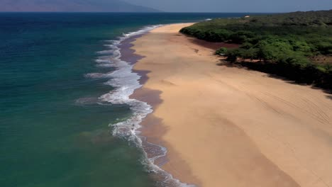 Beautiful-aerial-over-an-isolated-beach-or-coastline-in-Polihua-Lanai-Hawaii-7