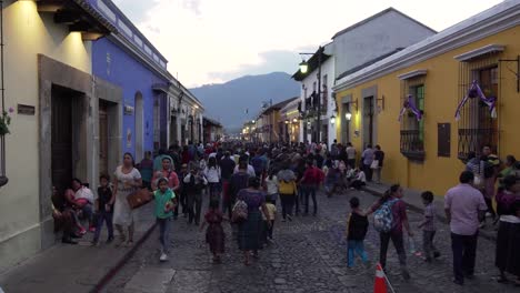 POV-shot-walking-down-a-busy-street-during-Easter-celebrations-in-Antigua-Guatemala-3