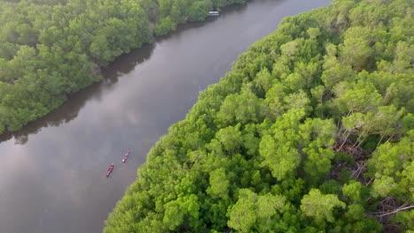 Aerial-shots-along-a-river-estuary-in-El-Paradon-Guatemala