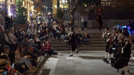 A-mariachi-band-plays-for-tourists-and-locals-in-the-city-of-Guanajuato-Mexico-in-a-public-square-at-night
