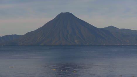 Beautiful-establishing-scenes-of-Lake-Atitlan-and-volcano-Guatemala-Central-America