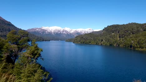 Aerial-of-Lago-Correntoso-and-the-Andes-mountains-in-Parque-Nacional-Nahuel-Huapi-Bariloche
